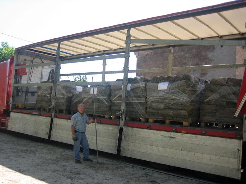 trasporto pallet rotoli tappeto erboso
